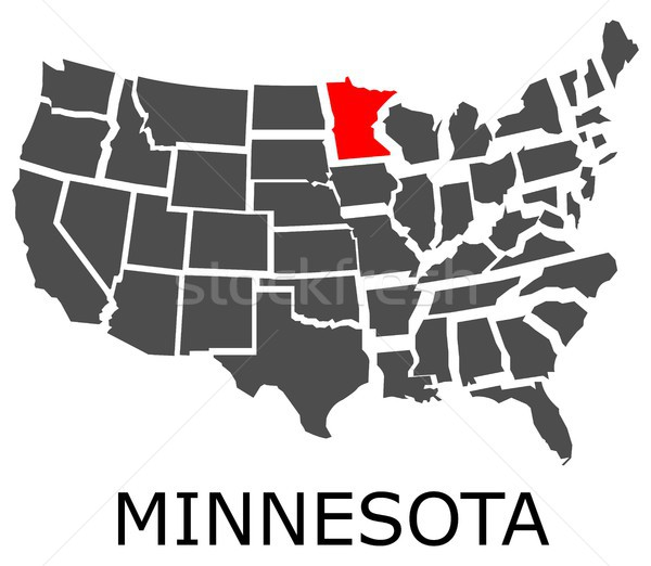 State of Minnesota on map of USA Stock photo © hamik