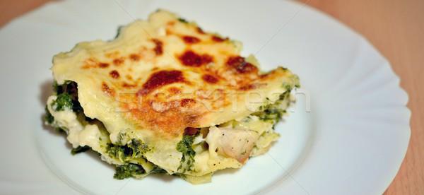 Spinaci lasagna fatto in casa pollo carne Foto d'archivio © hamik