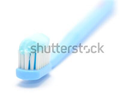 Diş fırçası diş macunu makro atış beyaz mavi Stok fotoğraf © hamik