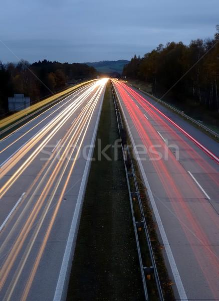 Autópálya éjszaka hosszú expozíció lövés út utca Stock fotó © hamik