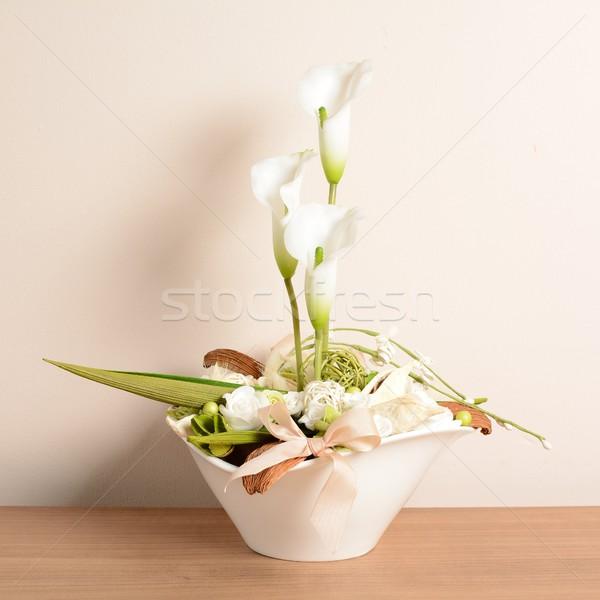 Ev dekorasyon dekoratif beyaz saksı Stok fotoğraf © hamik