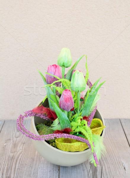 Pasqua home decorazione floreale tavola fatto in casa Foto d'archivio © hamik