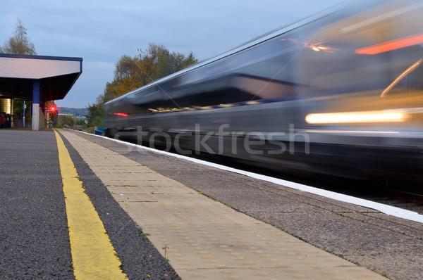 Offuscata treno veloce partenza luce viaggio Foto d'archivio © hamik