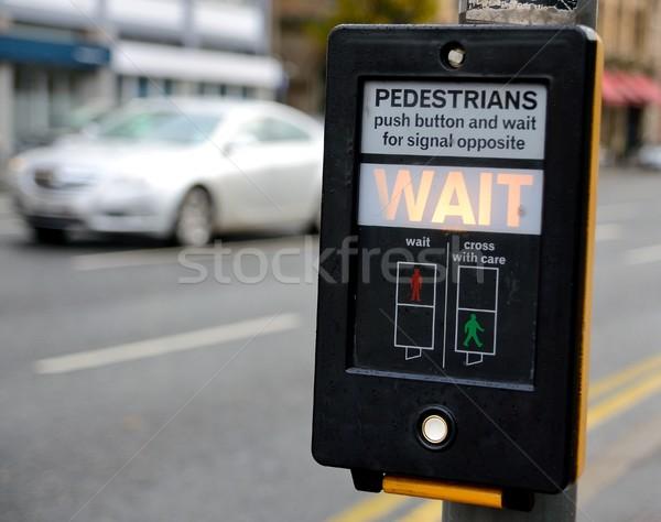 Przejście dla pieszych ostrzeżenie przycisk pieszy świetle samochodu Zdjęcia stock © hamik
