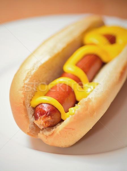 Stock fotó: Hot · dog · mustár · zsemle · főtt · puha · fehér