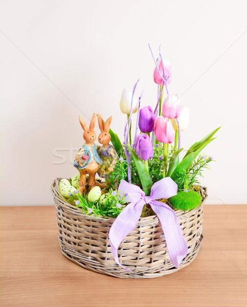 Wielkanoc domu dekoracji kwiatowy tabeli domowej roboty Zdjęcia stock © hamik