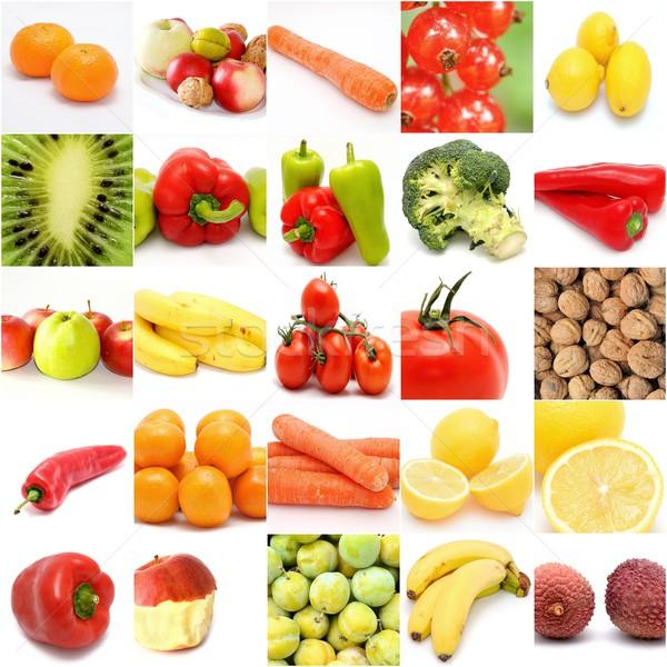Fruto vegetal colagem praça branco laranja Foto stock © hamik