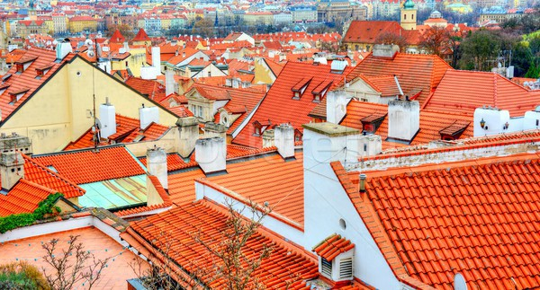 Old red roofs in Prague Stock photo © hamik