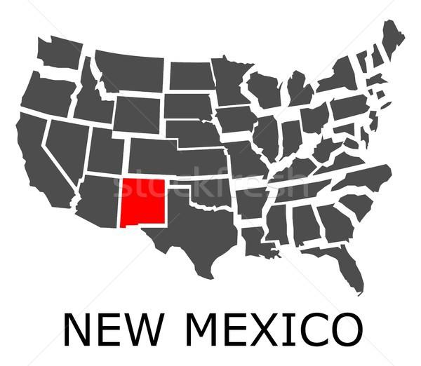 New Mexico harita ABD kırmızı renk seyahat Stok fotoğraf © hamik