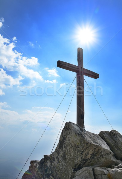Wooden cross on peak Stock photo © hamik