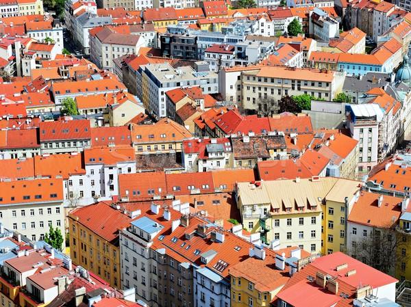 çatılar üst görmek kırmızı sokak kentsel Stok fotoğraf © hamik