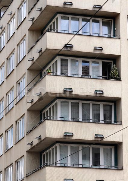Közelkép öreg ház épület stúdió ablakok Stock fotó © hamik