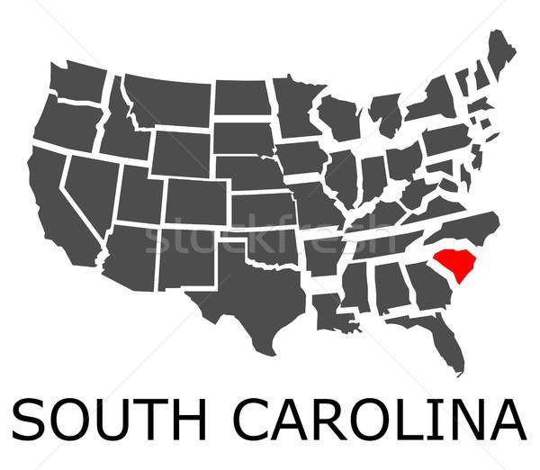 Carolina del Sud mappa USA geografico rosso colore Foto d'archivio © hamik
