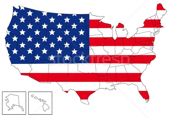 USA mappa bandiera design stelle blu Foto d'archivio © hamik