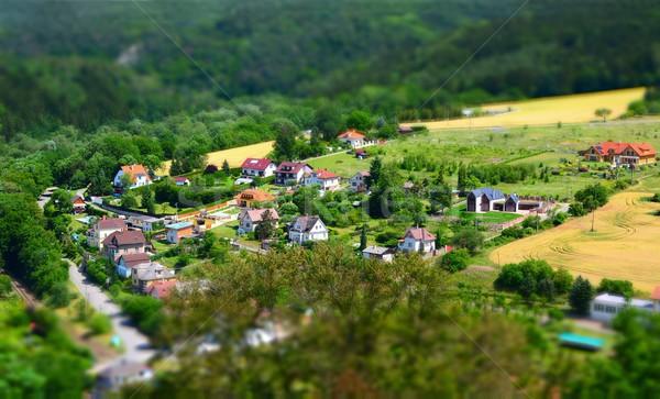 Köy vardiya etki güzel evler vadi Stok fotoğraf © hamik