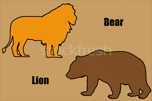 Leone orso illustrazione natura segno tigre Foto d'archivio © hamik