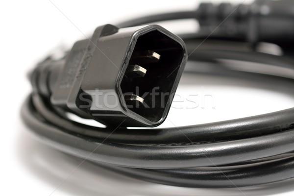 Computador poder cordão preto pormenor cabo Foto stock © hamik