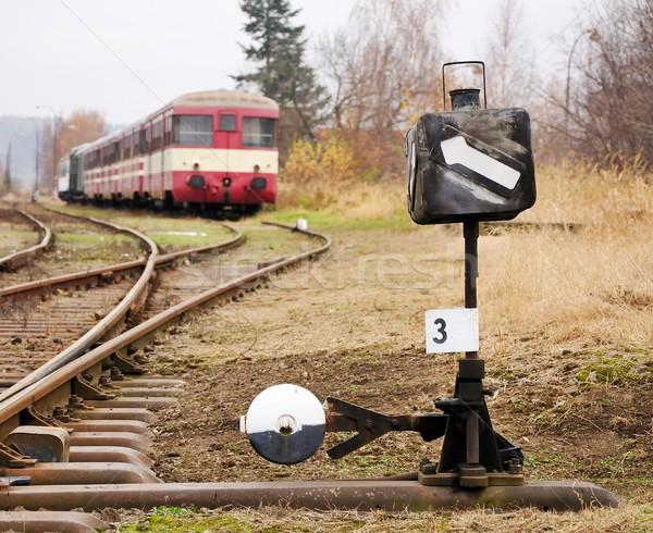 Ferrovia switch primo piano view vecchio treno Foto d'archivio © hamik