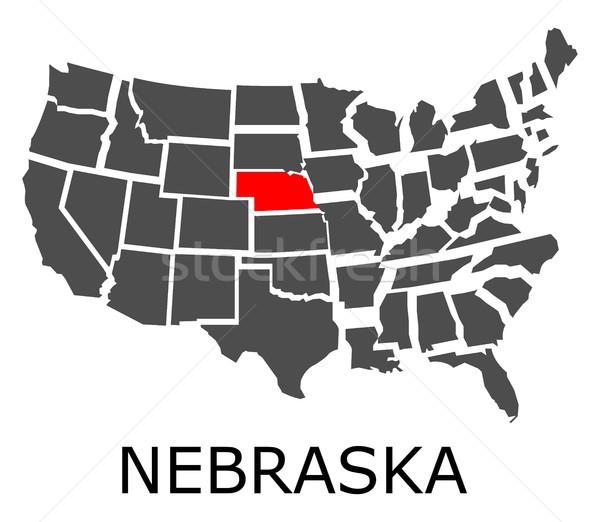 Nebraska mappa USA rosso colore viaggio Foto d'archivio © hamik