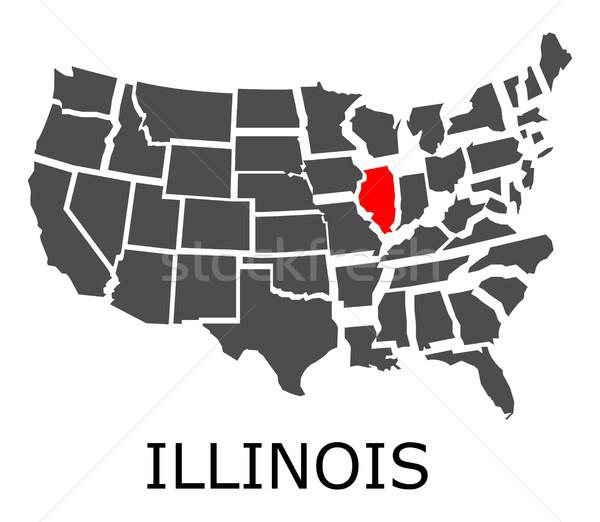 Illinois mapa EUA geográfico vermelho cor Foto stock © hamik