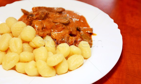 牛肉 ジャガイモ 白 プレート 食品 肉 ストックフォト © hamik