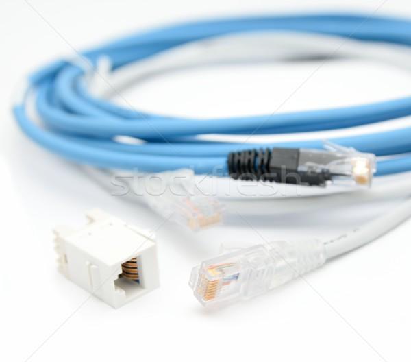 Ethernet kablolar mavi gri kablo bilgisayar Stok fotoğraf © hamik