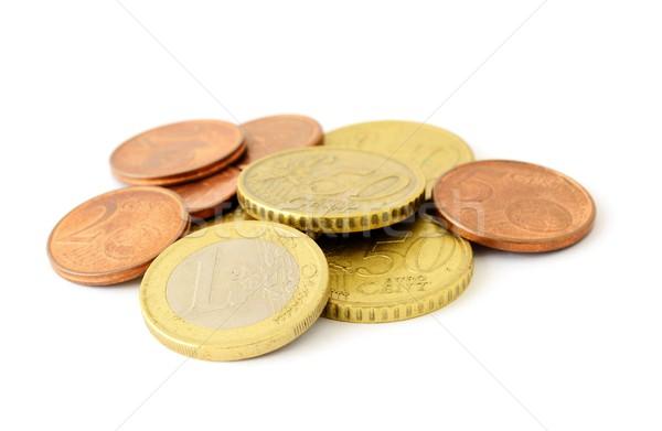 Euro moedas valor branco Foto stock © hamik