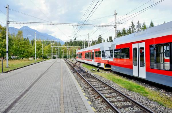 Treinstation forens elektrische trein hoog Stockfoto © hamik
