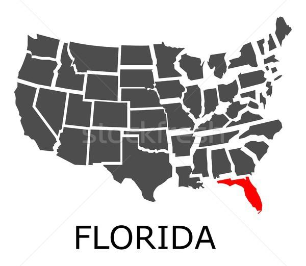 Flórida mapa EUA geográfico vermelho cor Foto stock © hamik