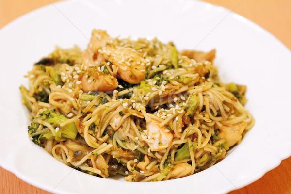 中国食品 中国語 麺 鶏 肉 ブロッコリー ストックフォト © hamik