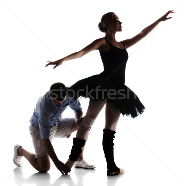 Foto stock: Feminino · bailarino · silhueta · belo · instrutor · isolado