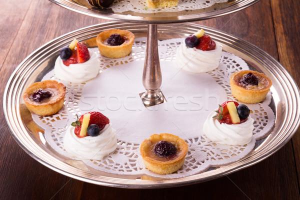 デザート デザート 務め 銀 ケーキ ストックフォト © handmademedia
