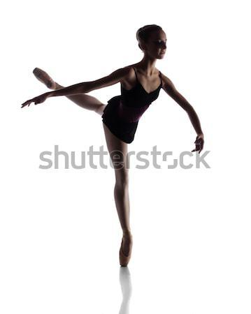 Femminile ballerino di danza classica silhouette bella isolato bianco Foto d'archivio © handmademedia