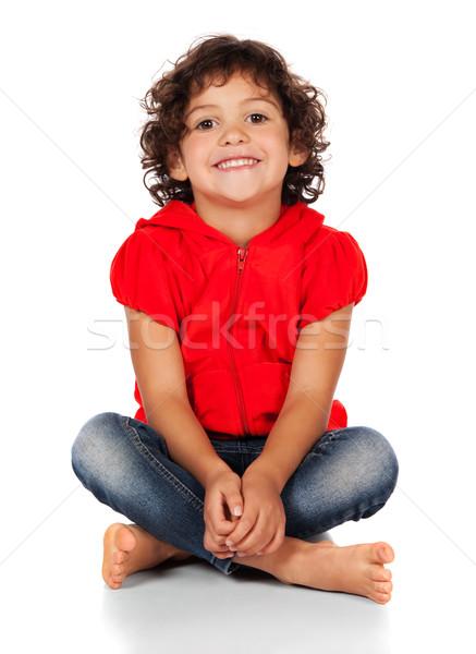 愛らしい 白人 少女 小 子 巻き毛 ストックフォト © handmademedia