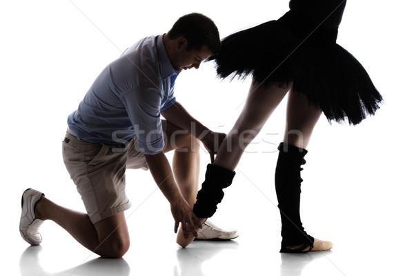 Stockfoto: Vrouwelijke · balletdanser · silhouet · mooie · instructeur · geïsoleerd