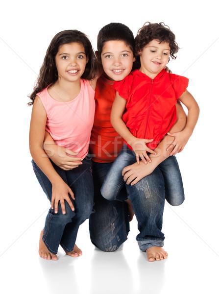 üç kafkas çocuklar iki kızlar bir Stok fotoğraf © handmademedia