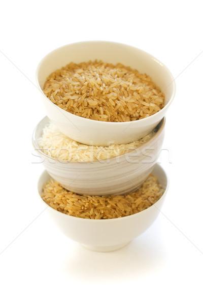 Beyaz kahverengi pirinç üç çanaklar yalıtılmış Stok fotoğraf © handmademedia