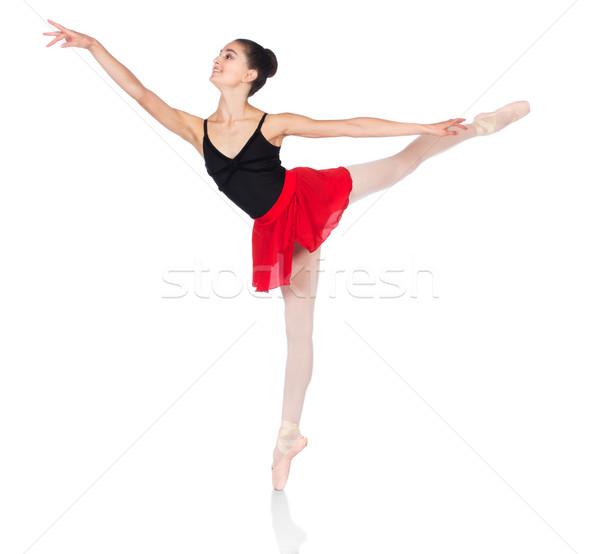Vrouwelijke balletdanser mooie geïsoleerd witte ballerina Stockfoto © handmademedia