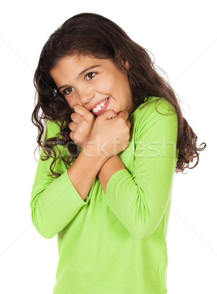 довольно кавказский девушки Cute зеленый Сток-фото © handmademedia