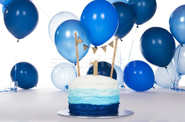 Blue birthday cake Stock photo © handmademedia