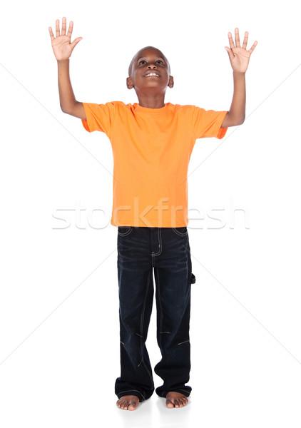 Cute Afryki chłopca jasne pomarańczowy Zdjęcia stock © handmademedia