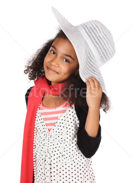 Sevimli Afrika kız çok güzel çocuk afro Stok fotoğraf © handmademedia