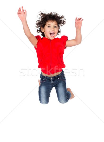 çok güzel kafkas kız küçük çocuk kıvırcık saçlı Stok fotoğraf © handmademedia