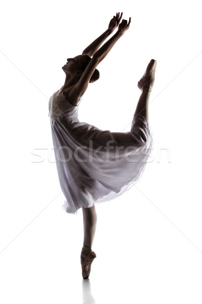 Feminino bailarino silhueta belo isolado branco Foto stock © handmademedia