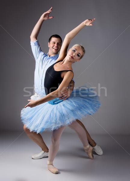 Vrouwelijke balletdanser mooie instructeur grijs ballerina Stockfoto © handmademedia