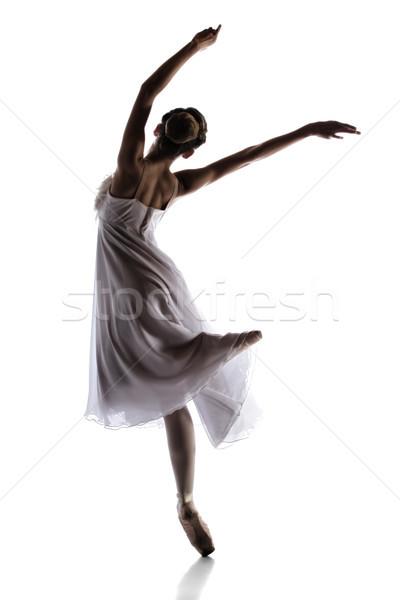 Kobiet baletnica sylwetka piękna odizolowany biały Zdjęcia stock © handmademedia