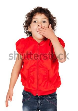 Adorável caucasiano menina pequeno criança cabelos cacheados Foto stock © handmademedia