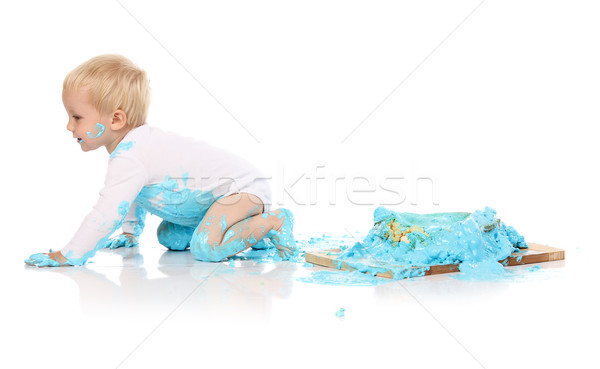 Baby smashing cake Stock photo © handmademedia