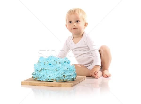 Baby smashing cake Stock photo © handmademedia