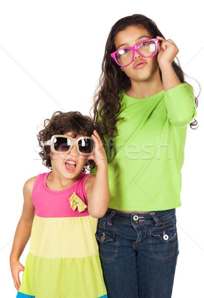 девочек Солнцезащитные очки довольно Cute кавказский девушки Сток-фото © handmademedia